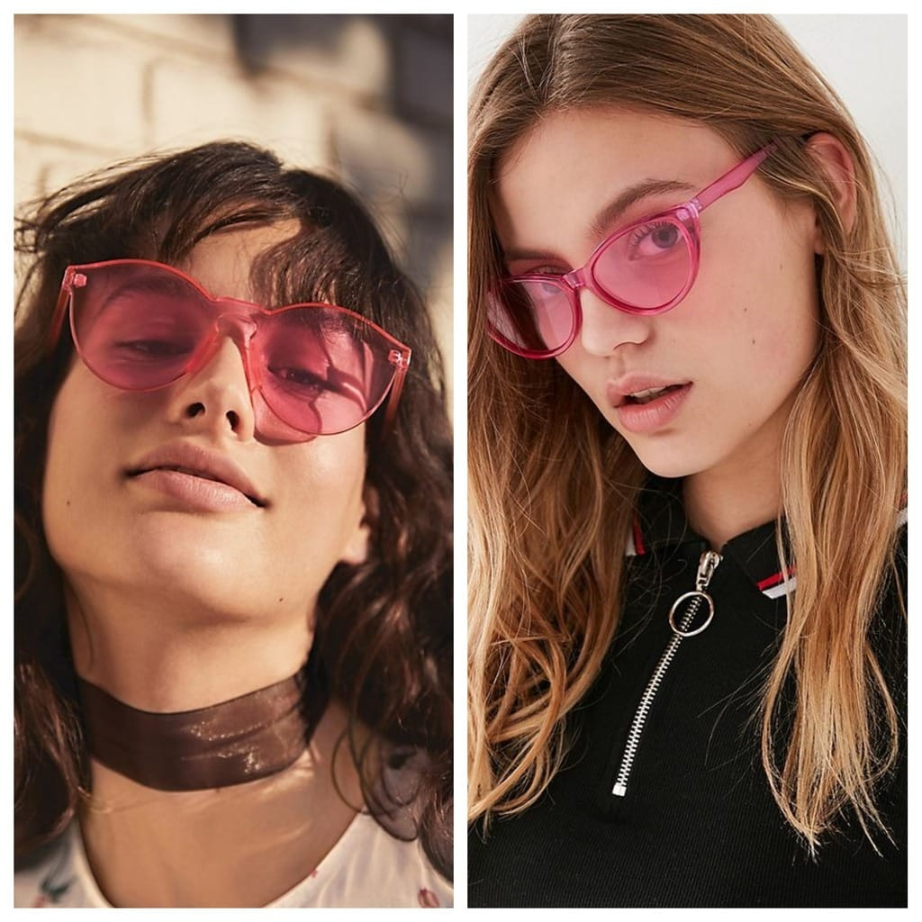 Transparent Pink Sunglasses: The pair on the left are from Free People and the pair on the right are from Urban Outfitters. Both models have flowing curly hair.