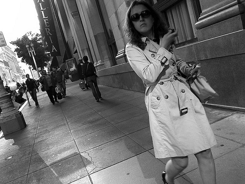 Woman wearing a trench coat