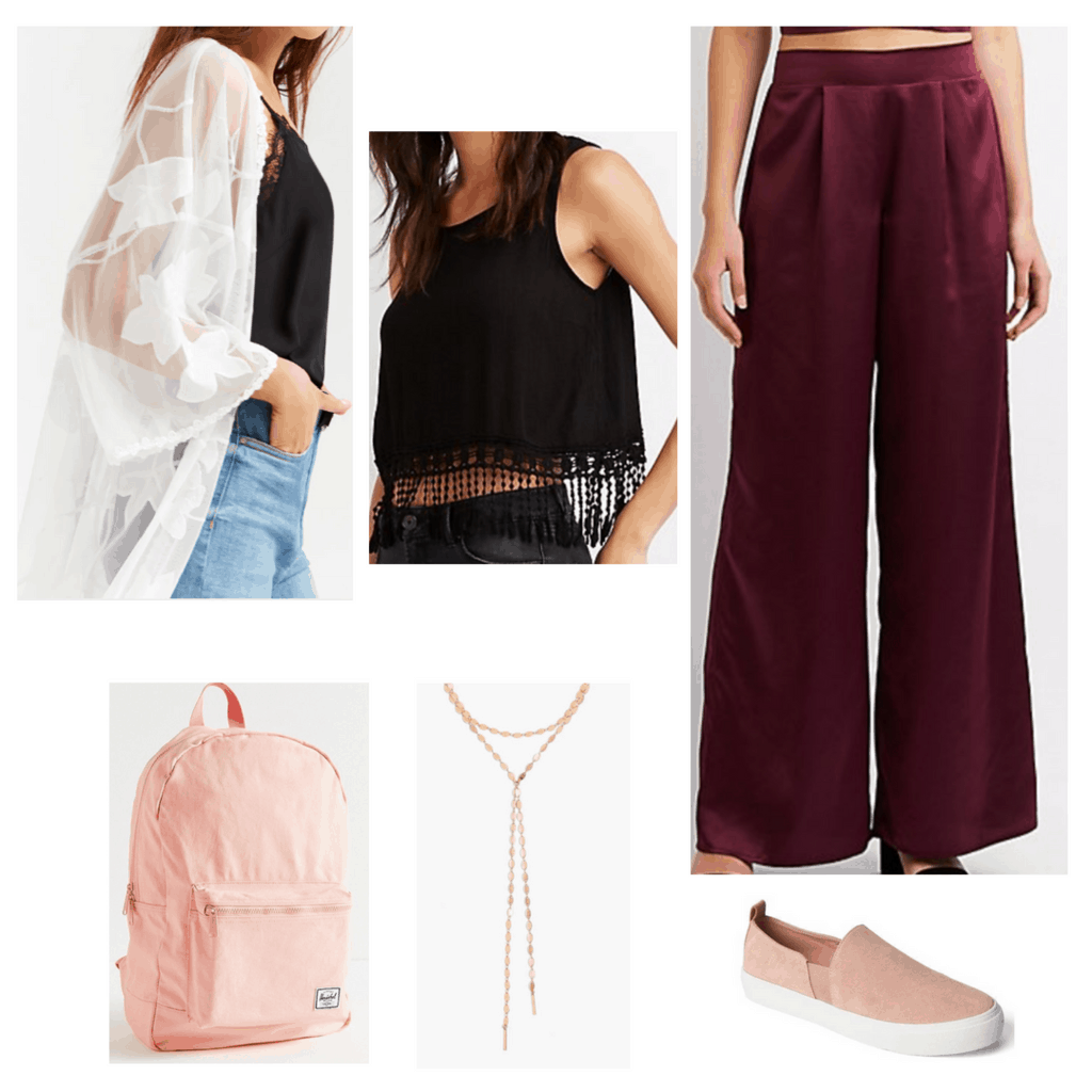 Trendy finals week outfit: Satin wide leg pants, cropped fringe tank, sheer white kimono, pink backpack, lariat necklace, pink slip on sneakers