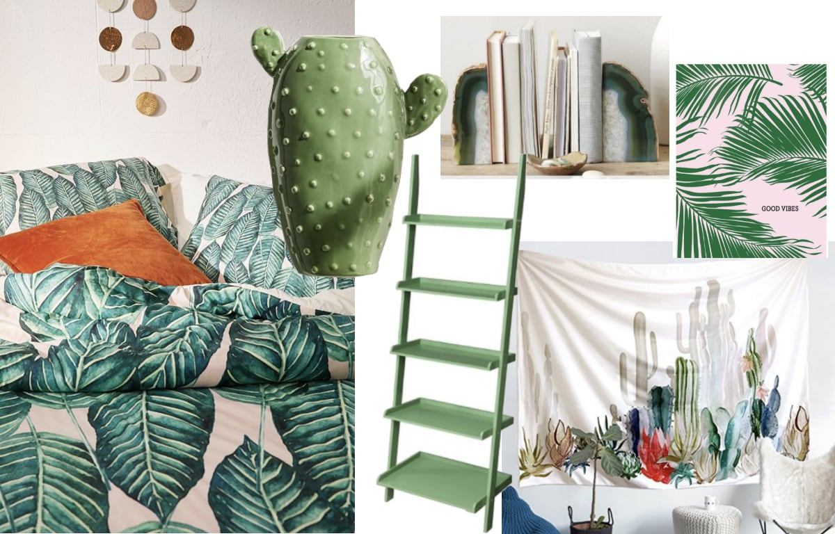 Tropical green dorm room inspiration shopping guide with pieces from West Elm, Amazon, and Target.