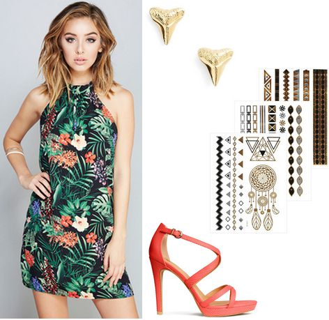topical print dress, coral heels, metallic tattoos