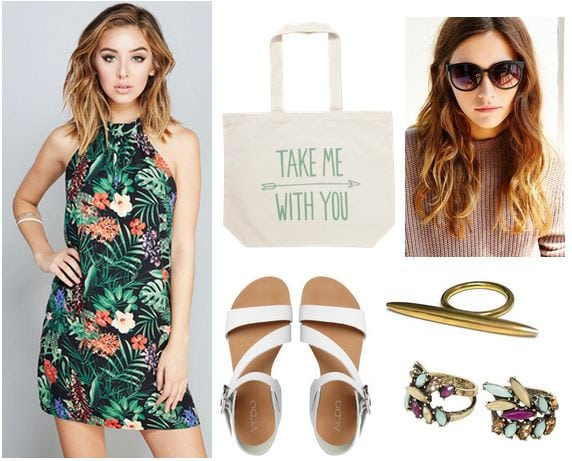 topical print dress, white sandals, tote bag