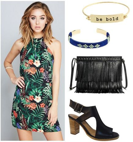 topical print dress, cut-out shoes, fringe bag
