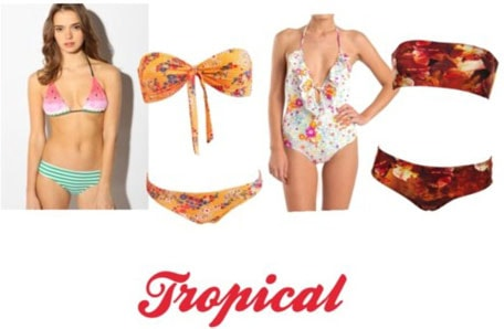 Tropical print swimsuits