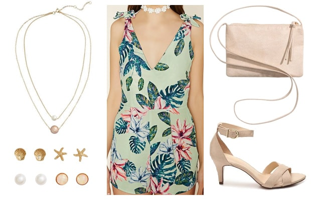 Tropical romper event outfit
