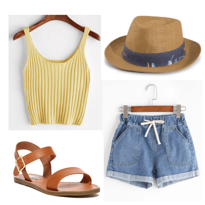 Winter vacation outfit ideas: Outfit for a tropical vacation with yellow crop top, denim shorts, sandals, straw hat
