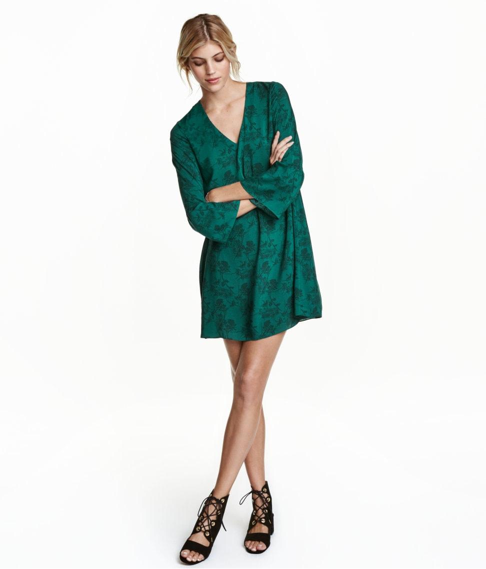 H&M green trumpet sleeve dress