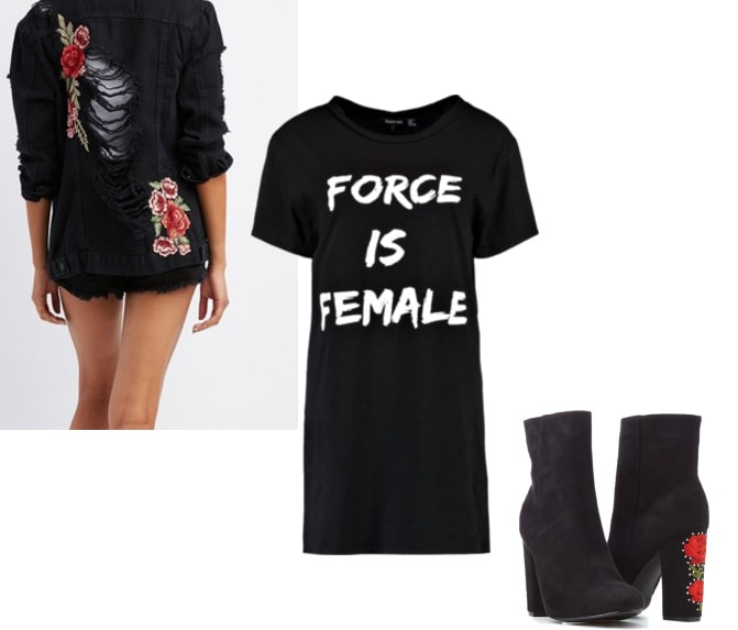 Embroidered jacket outfit: Black rose embroidered jacket, Force is Female t-shirt dress in black and white, rose embroidered ankle boots