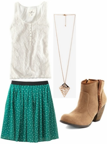Tuesday outfit lace top, printed skirt, ankle boots