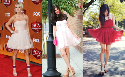 Tulle dresses seen on Carrie Underwood and two street style fashionistas
