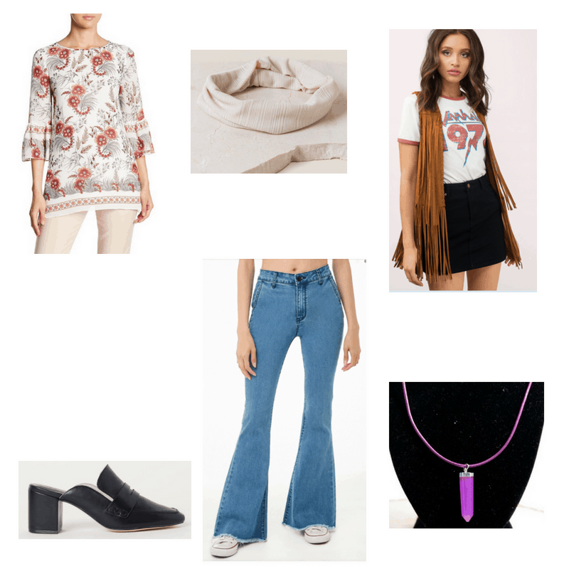 Outfit with floral bell-sleeve tunic, fringe vest, frayed flare jeans, black mules, striped headband, and purple necklace