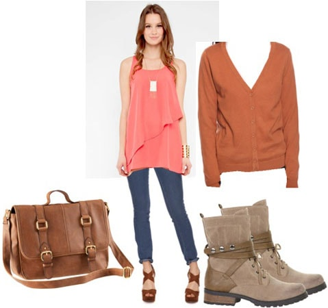 Tunic outfit 1: Pink layered tunic, cardigan, grey boots, satchel, skinny jeans