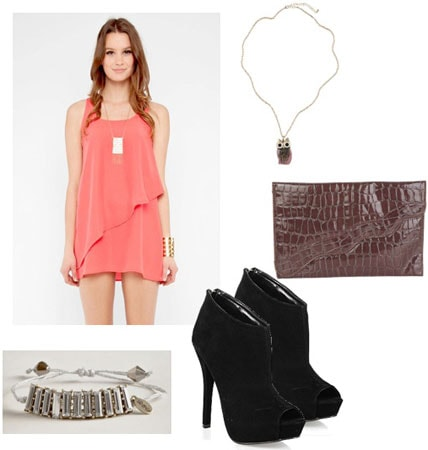 Tunic outfit 2: Pink layered tunic as a dress, necklace, clutch, ankle booties