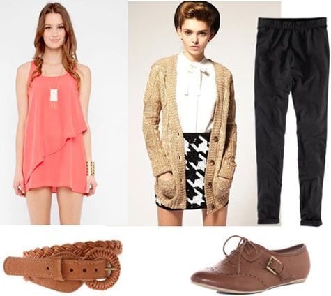 Tunic outfit 3: Pink layered tunic, boyfriend cardigan, loose trousers, oxfords, camel belt