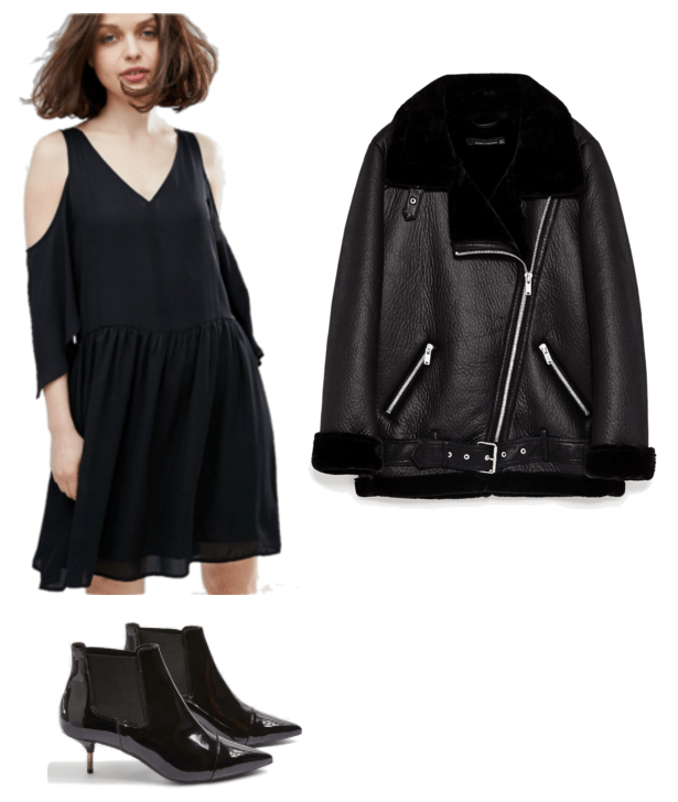 """Turn One Outfit Into Four: Chic Neutrals Edition"" Outfit #2 featuring long black faux leather motorcycle jacket with faux fur lining and silver hardware, black cold-shoulder dress with v-neck, patent leather ankle boots with kitten heel, stretch panels at sides, and pointed cap-toe"