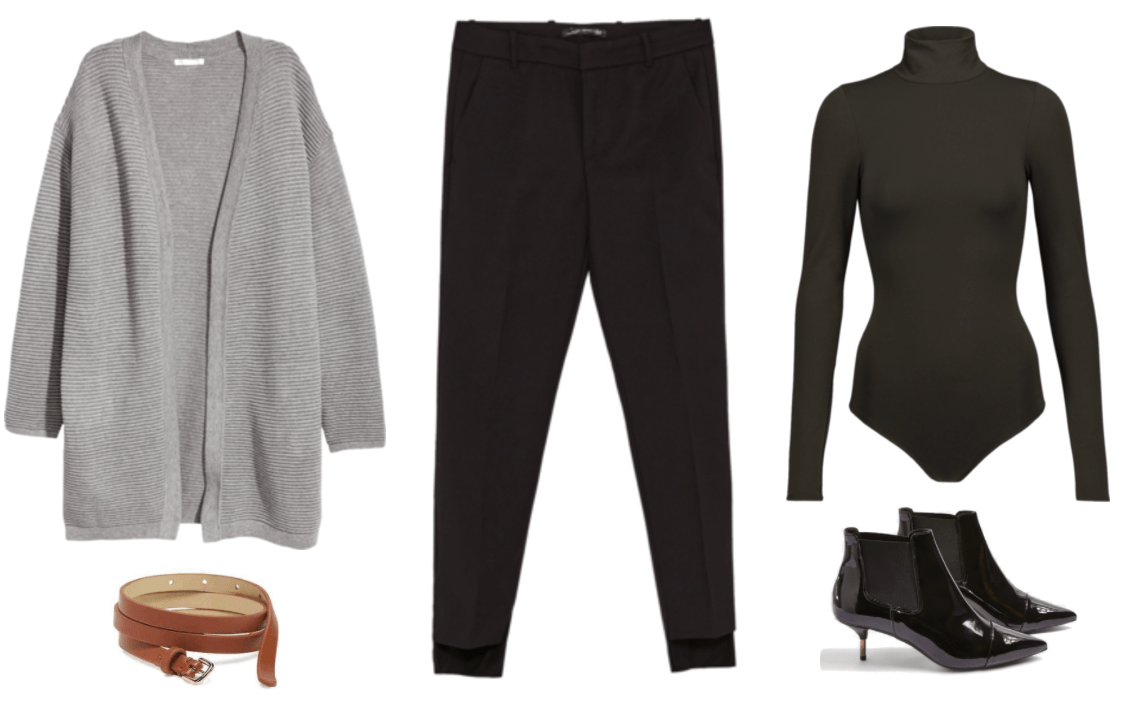 """Turn One Outfit Into Four: Chic Neutrals Edition"" Outfit #1 featuring gray rib-knit open-front cardigan, cognac-brown skinny belt, black asymmetrical-hem slim-fit trousers, black turtleneck bodysuit, patent leather ankle boots with kitten heel, stretch panels at sides, and pointed cap-toe"