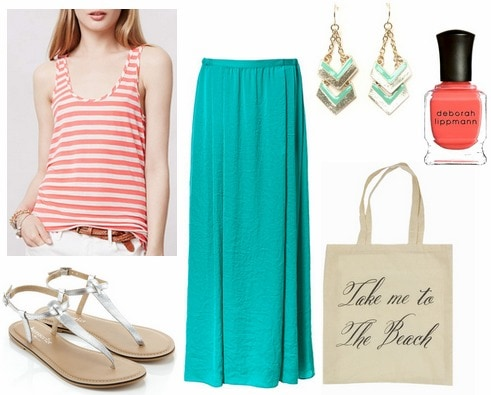 Turquoise skirt, coral stripe tank, silver sandals