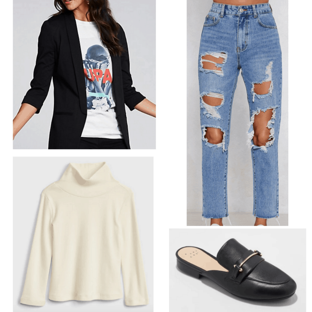 Black blazer with cream turtleneck, distressed denim jeans, and black loafers