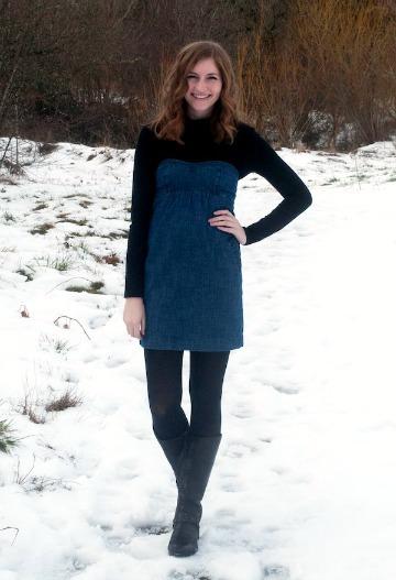 Turtleneck layered under strapless dress