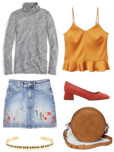 How to transition a turtleneck from winter to spring: Outfit with gray turtleneck, gold satin tank, embroidered skirt, red orange shoes, canteen crossbody bag, and gold mantra cuff bracelet.