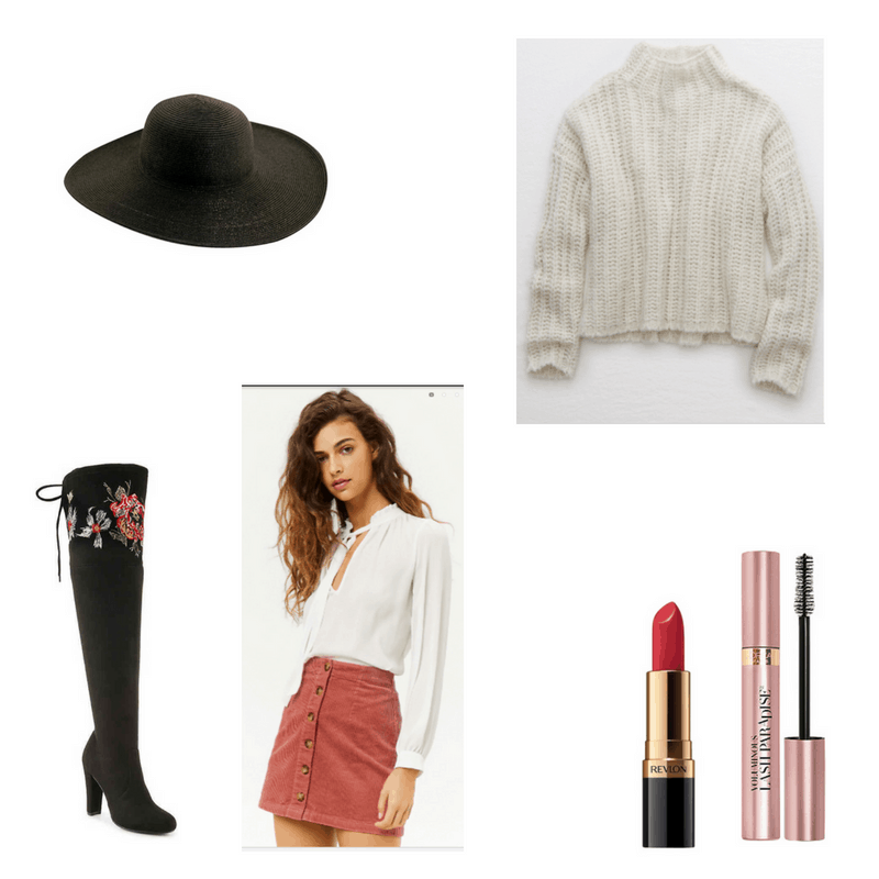 Outfit with turtleneck sweater, button-front corduroy skirt, embroidered over-the-knee boots, black hat, red lipstick, and mascara