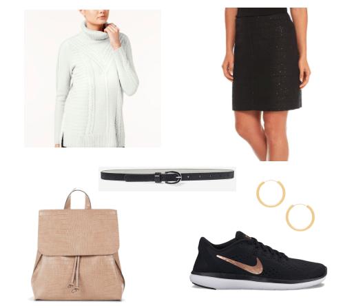 Tweed skirt outfit for class: Black tweed skirt, gray sweater, black skinny belt, tan backpack, hoop earrings