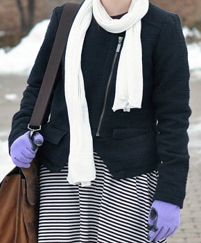 Tweed jacket and striped skirt