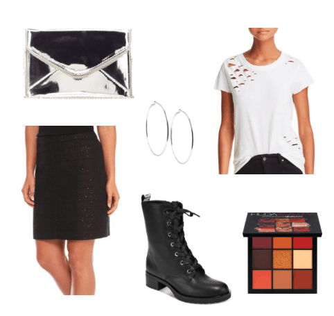Tweed skirt outfit for a night out: Black tweed skirt, high heeled combat boots, distressed tee shirt, hoop earrings, black and white clutch, eyeshadow palette