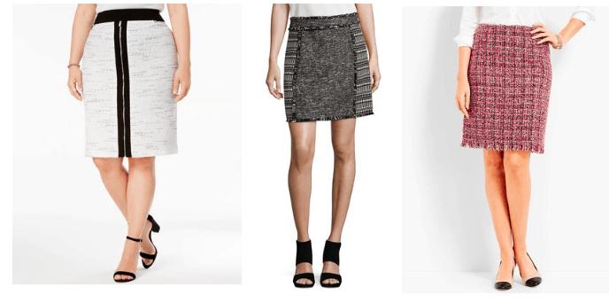 Tweed skirt trend: 3 tweed skirts in gray, dark charcoal, and rose pink