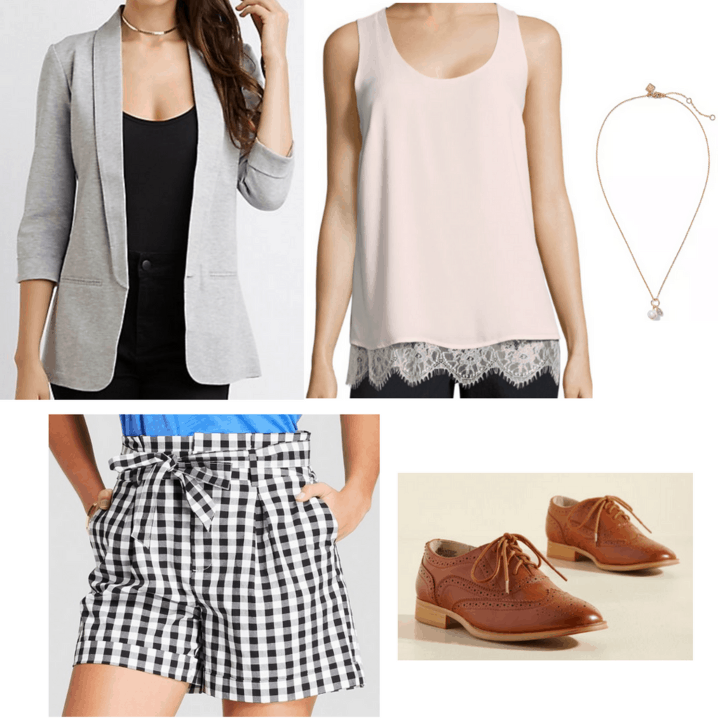 gray boyfriend blazer nude lace tank top gold pendant necklace gingham tie-waist paper bag shorts brown oxford flats outfit twelfth night outfit Shakespeare inspired outfit