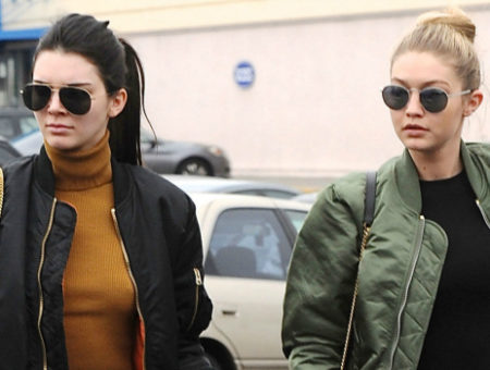 Kendall Jenner and Gigi Hadid wearing bomber jackets