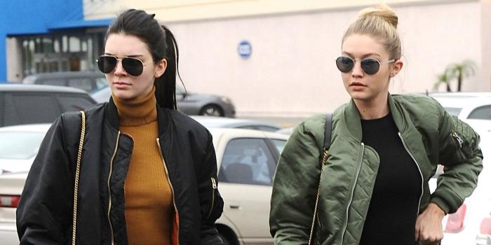 Kendall Jenner and Gigi Hadid wearing bomber jackets