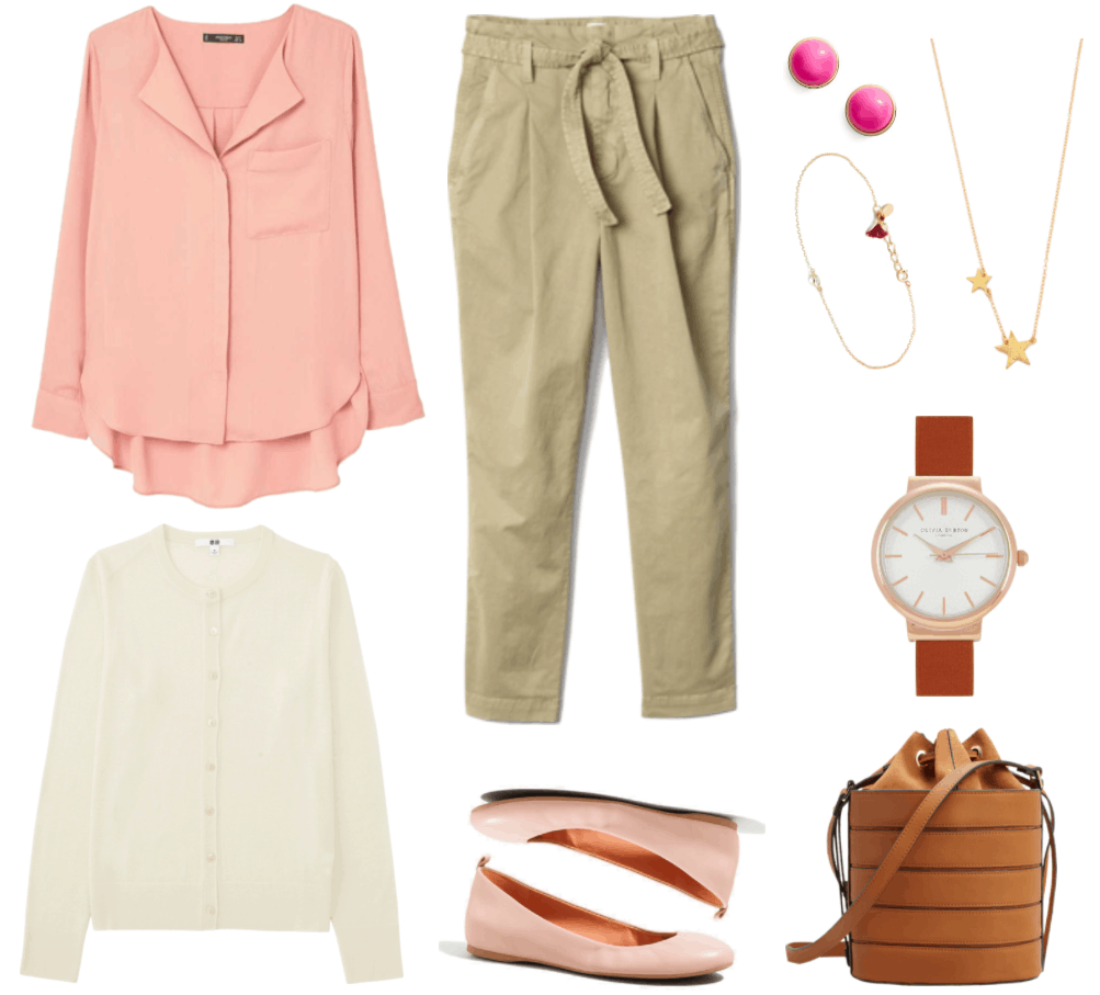 """""""Ask CF: How Do I Dress For Two Jobs in One Day?"""" Outfit #1 featuring long-sleeved salmon-colored blouse with pocket, off-white cardigan, beige high-rise cropped chinos with tie waist, pale pink ballet flats, faceted circular stud earrings with bright pink stone, gold solitaire cubic zirconia bracelet with tiny magenta fringe, gold necklace with two brushed stars, watch with rose gold hardware and brown strap, and brown bucket bag"""