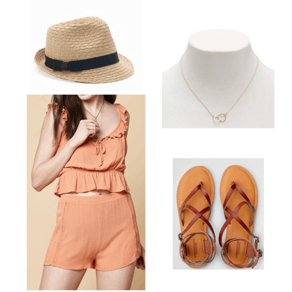 hat, orange two piece, gold necklace, brown sandals