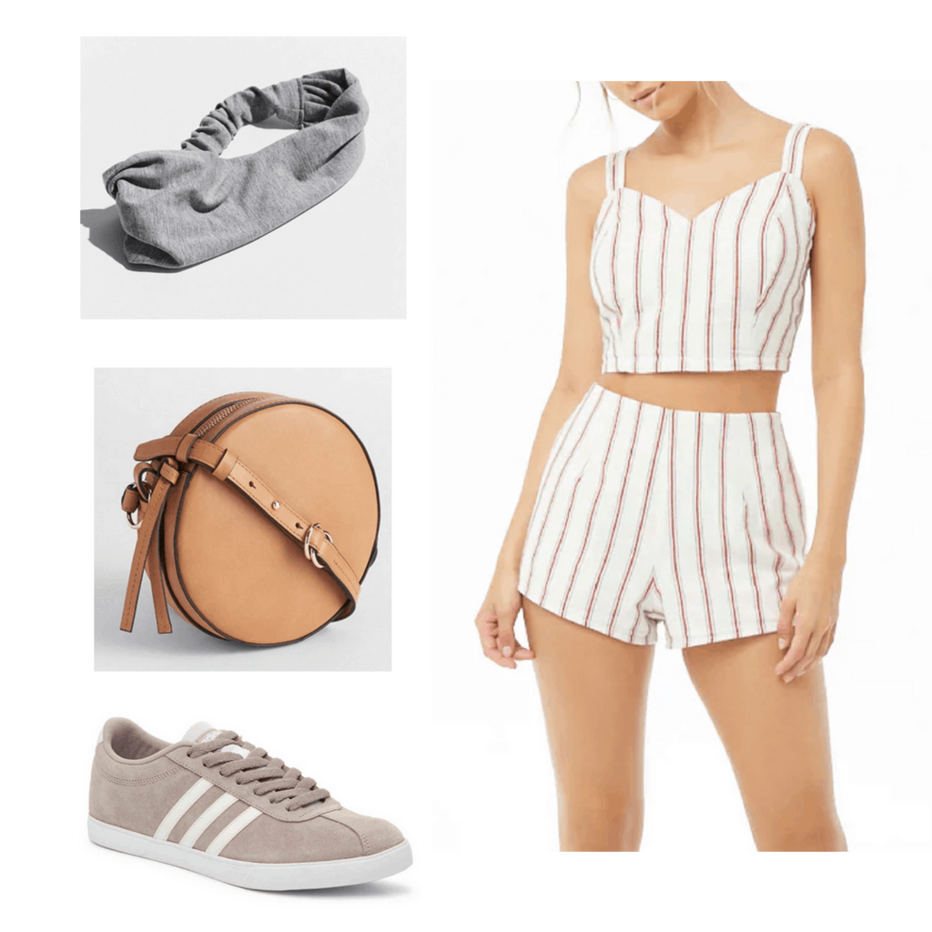 Two-piece matching white stripe set, grey headband, brown bag, and beige sneakers