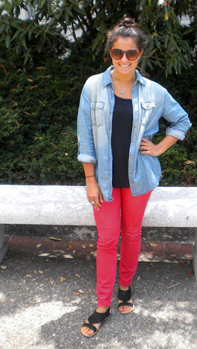 A college fashionista at UC Berkeley shows off her casual summer street style