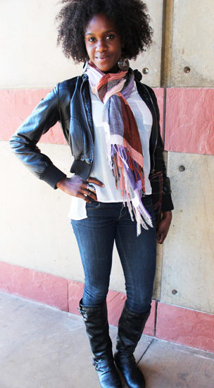 UCLA student style - college fashionista rocking jeans, a jacket, and a colorful scarf