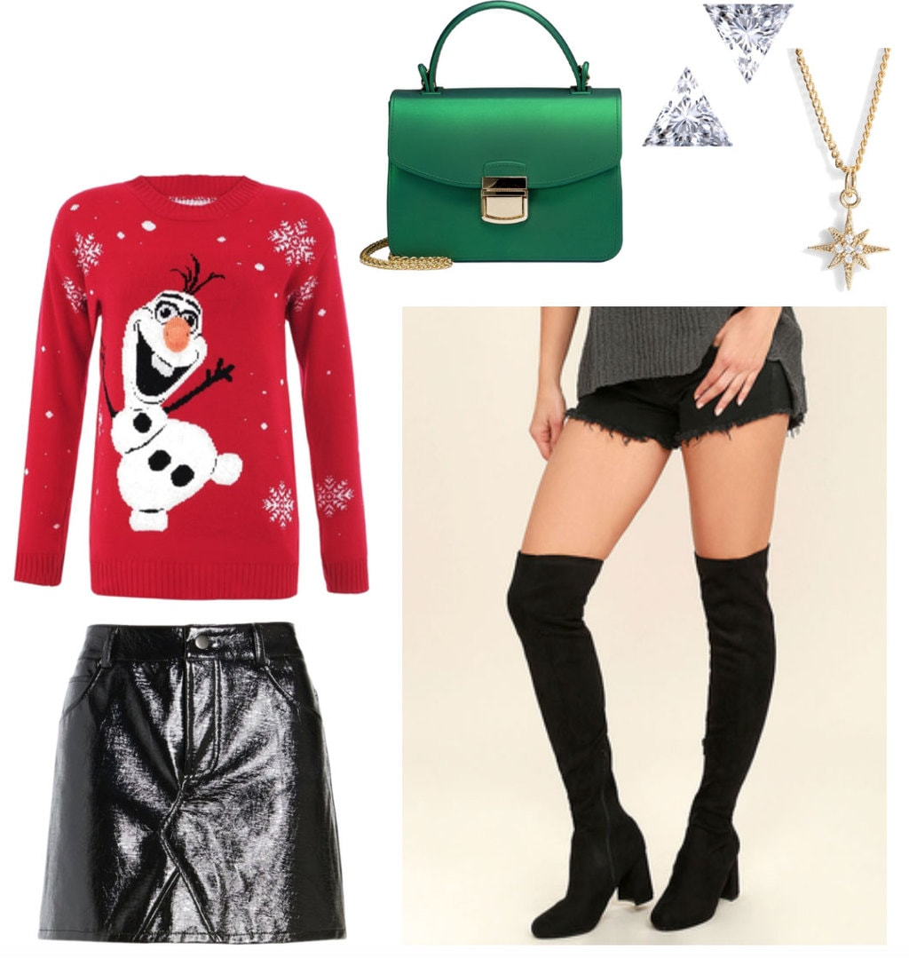 Ugly sweater party outfit: What to wear to an ugly sweater party with Olaf Christmas sweater, faux leather skirt, green crossbody bag, over the knee boots, triangle stud earrings, and a star necklace