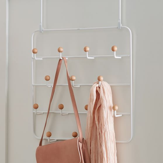 College dorm room furnishings - Umbra over-the-door hook organizer for jackets, bags, scarves, and purses from PB Teen.