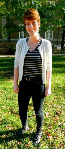 Fashion at UNC Chapel Hill with college fashionista Katy in skinny jeans, a striped top and cardigan