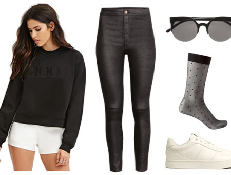 Under $100 street style inspired outfit with sheer socks