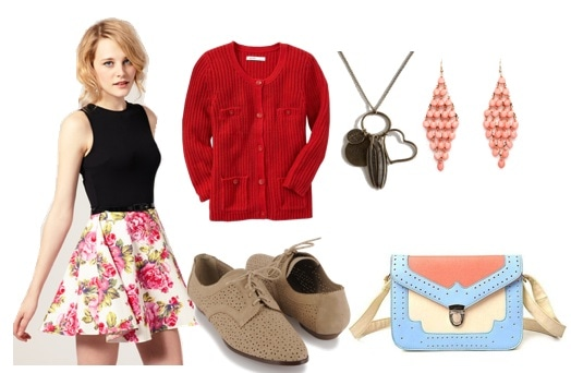 Night out outfit under $100 - Floral skirt, red cardigan, necklace, earrings, satchel, oxfords
