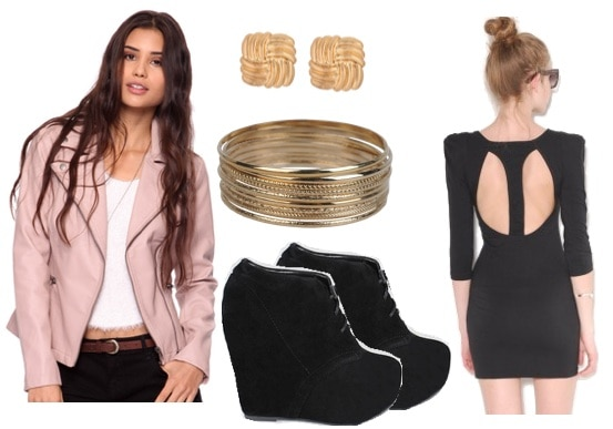 Night out outfit under $100 - little black dress, pink blazer, wedge booties, jewelry