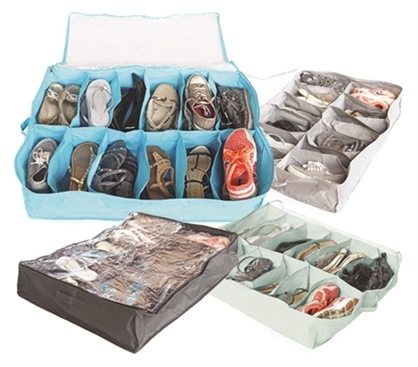 Under the bed soft shoe storage organizer with zipper tops.