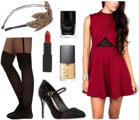 Winter party outfit: Red dress, statement tights, mary-janes, headband, festive makeup