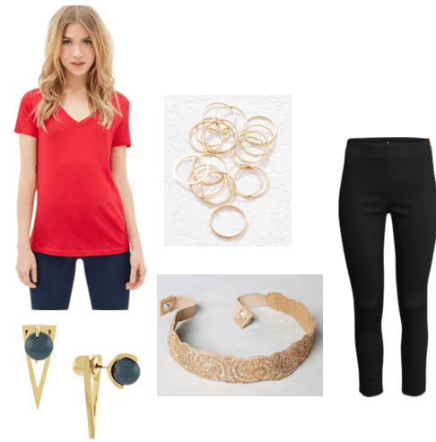 Red shirt uniform outfit
