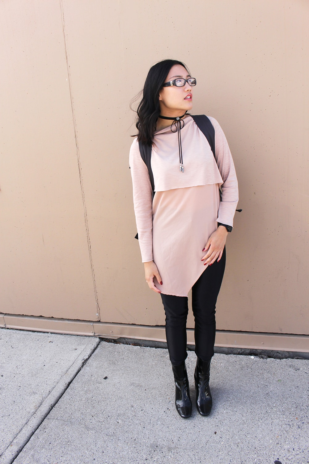 Fashion at the University of Calgary - pink tunic top, black pants, ankle booties