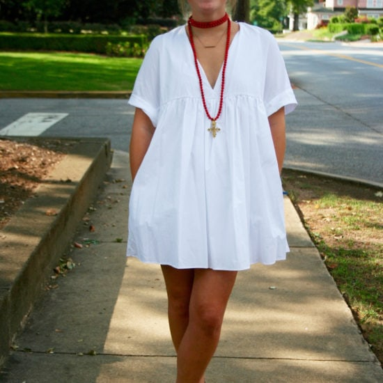 Student fashion at the University of Georgia - effortless white dress, necklace and sandals