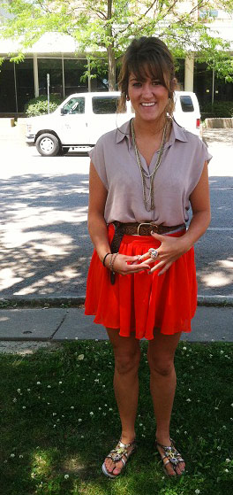 University of Iowa student street style - neon red skirt, beige tank, metallic sandals