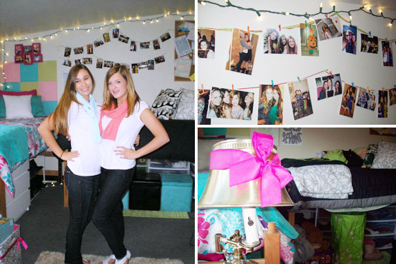 College dorm room at the University of Oregon: Roommates, wall decor, decorated lamp